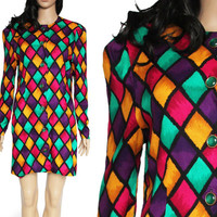 Geometric Print Dress Abstract Colorful Mod 80's 90's New Wave Short Fitted Spring Summer Hipster Clothing Women's Size Small Medium