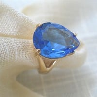 ON SALE was 20.99 Faceted Blue VIntage Ring