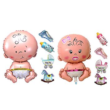 5Pcs Baby Beauty Shower Foil Balloon Baby Shower Boys Girls Holiday Decorations Foil Balloons Stroller Blue(boy)  Pink(girl)