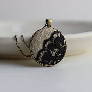 Taupe and Black Lace Jewelry, Beige, Black, and Gold Bronze Jewelry, Black Lace Pendant, Round Scalloped, Neutrals, Modern Jewelry