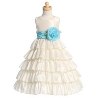 Taffeta Layered Flower Girl Ivory Dress LT-BL203