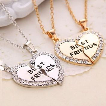 New Crystal Charming Match Heart Best Friends Pendant Necklace