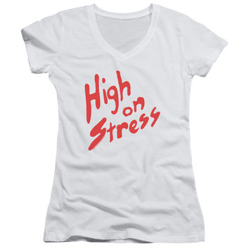 Revenge of the Nerds High on Stress White Womens V-Neck T-Shirt