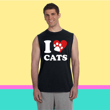 I Love my Cats Sleeveless T-shirt