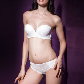 Strappy Intimates Embroidery Balconette Bra And Panties Sets Wedding Corset Bras for Women Bridal 1/2 cup Strapless Underwear