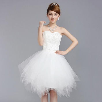 2015 New Arrival Princess Mini dress Short Puff skirt Sweet and lovely Bride Bridesmaid Toast dress = 1929510596