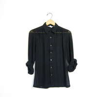TOTALLY SHEER blouse. See Through 70s striped BLACK shirt. Long sleeve modern top. minimalist button down. Womens Small