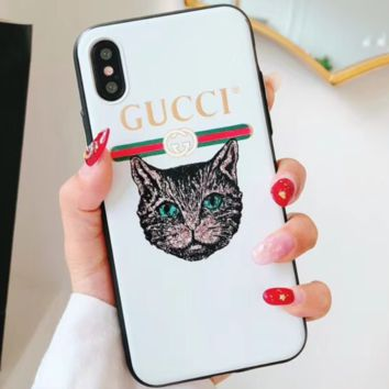 GUCCI / ADIDAS & YEEZY &SUPREME Tide brand IPHONEX phone case matte embossed for men and women GUCCI/WHITE