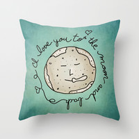 I Love You To The Moon And Back (blue) Throw Pillow by Sandra Arduini