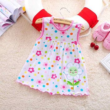 2017 new baby lovely baby baby dress little girl is wearing a sleeveless dress casual cotton vest Mini Princess Dress
