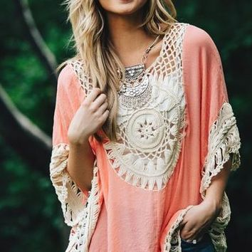 Boho Crochet Causal Blouse B007600