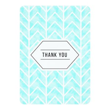Aqua Watercolor Chevron Thank You Card