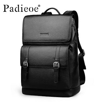 Genuine Leather School Backpack For Teenager Best New Year's Gift for Student Laptop Bag Fashion Travel Leather