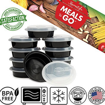 """Meals-to-Go Lunch Box Containers with Lids - BPA Free Plastic - Stackable, Reusable, Microwave Safe - Bento Lunch Box Sets - 10 Pack (24 ounce round container with lid (7"""")"""