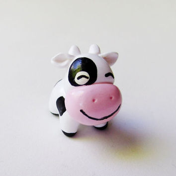 Cute Black and White Happy Cow Miniature Figurine