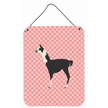 Llama Q' Ara Pink Check Wall or Door Hanging Prints BB7918DS1216