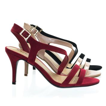 Harleen78 by Bamboo High Heel Strappy Sling Back Dress Sandal. Women Open Toe Evening Shoe