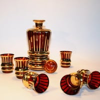 Bohemia vintage decanter set / mid century/ tumbler set in red and gold