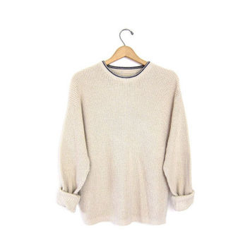 vintage boyfriend sweater. cream knit pullover. textured knit sweater. slouchy knit thermo pullover. loose knit preppy Fall pullover