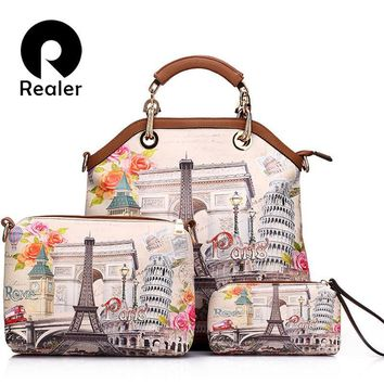 3 pcs printed handbag women large tote bag