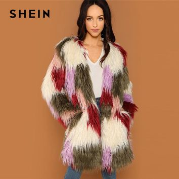 SHEIN Colorful Faux Fur Coat Colorblock Long Sleeve Multicolor Streetwear Women Winter Elegant Highstreet Casual Outerwear Coats