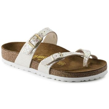 Hot Sale Mayari Birkenstock Summer Fashion Leather Sandals For Women Men color Shiny Snake Cream size 35-42