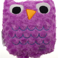 "Purple Owl Pillow Multi Color LED Light Up Flash Plush 10"" Microbeads Home Decor"