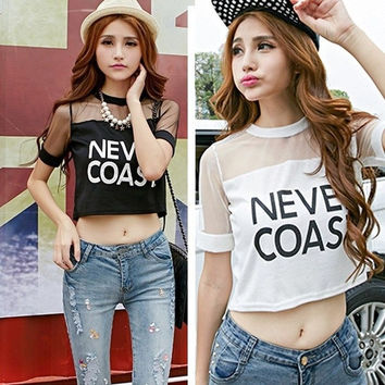 Sexy Women Loose Crop Top Blouse Short Sleeve Crewneck T-Shirt See-through Tops = 1956642628
