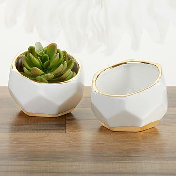 Geometric Ceramic Planter (Set of 2)