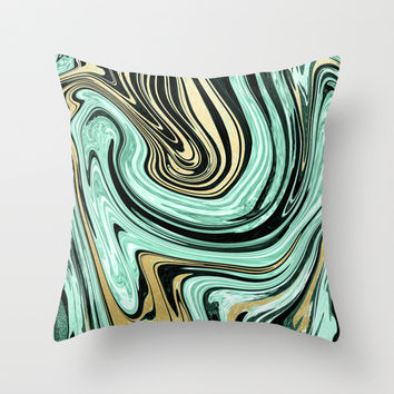 MARBELLOUS IN MINT AND GOLD Throw Pillow by Nika