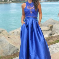 Royal Blue Maxi Dress with Crochet Top
