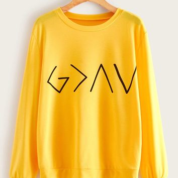 Geo Print Drop Shoulder Sweatshirt