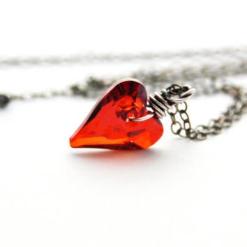 Red Heart Necklace Sterling Silver Jewelry Poppy Ruby Red Swarovski Heart Necklace Red Magma Crystal Charm January Birthstone