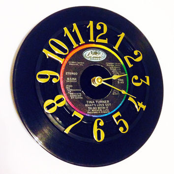 Record Clock, Vinyl Record Clock, Wall Clock, Tina Turner  Record, Recycled Record, Upcycle, Battery & Wall Hanger included, Item #63