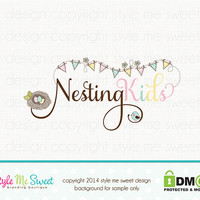 Custom Premade Logo Design -  Exclusive Nest Bunting Bird Logo photography logo Hand Drawn Photographer Illustration OOAK NOT Resold