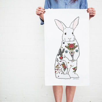 Tattoo Rabbit Tea Towel - Easter Gift