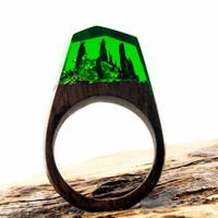 Green Forest Resin Ring Wood Band Wooden Rings for Men Women Jewelry Fashion