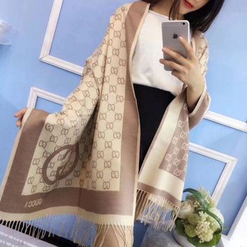 ONETOW Gucci' Women Wnter Scarf Fashion Multicolor Logo Letter Two Sides Cashmere Tassel Shawl