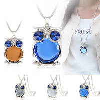 Gray Blue Crystal Owl Pendant Long Necklace Chain Jewelry For Women's Gift
