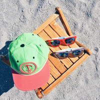 Upside Down Anchor Snapback Hat - YACHT PARTY - Watermelon / Lime