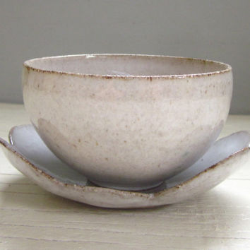 small ceramic bowl with cloud coaster white pottery