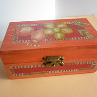 Decorative wooden box Hand painted and Collaged Box with a Flower and Rose hip motif Wooden box decorative sheet music collaged interior.