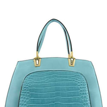 DESIGNER CROC POCKET ACCENT TOTE BAG