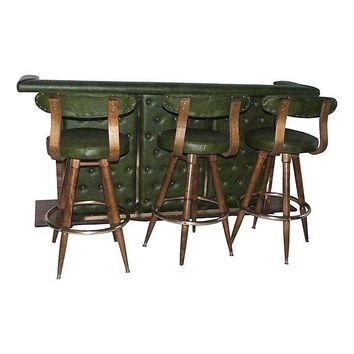 Pre-owned Mid-Century Modern Bar & 3 Danish Bar Stools