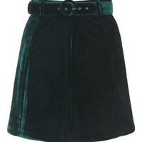 Velvet Belted Mini Skirt - Forest
