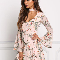 Blush Chiffon Floral Cut Out Flared Dress