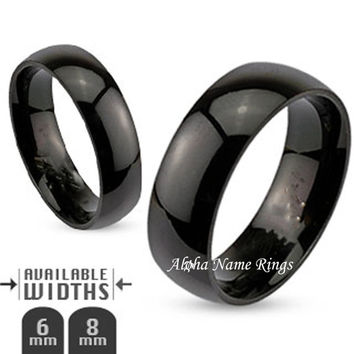 Custom Engraved Domed Black Stainless Steel Name Ring For Men or Women 6-8mm Promise Ring-R003