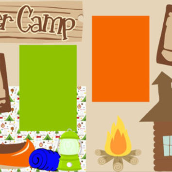 Scrapbook Page Kit or Premade Layout 12X12 2-Page - Summer Camp