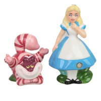 Disney Alice In Wonderland Alice And Cheshire Cat Salt & Pepper Shakers