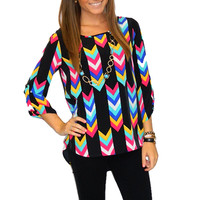 Colorful Chevron Blouse | Girly Girl Boutique
